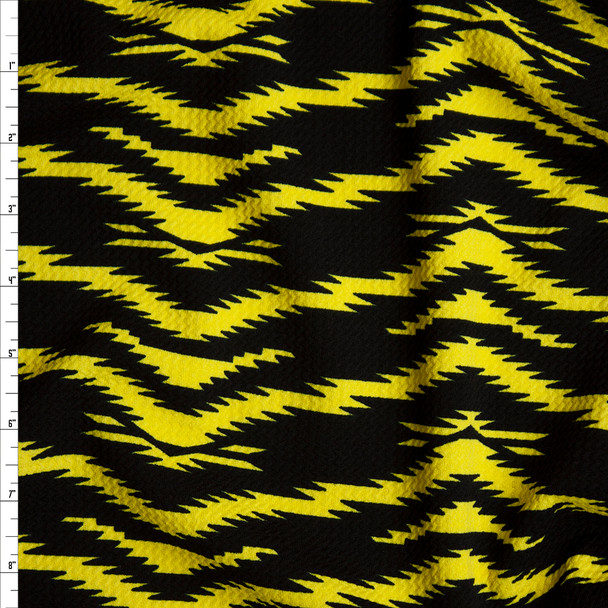 Neon Yellow on Black Electric Tiger Print Bullet Liverpool Knit Fabric By The Yard
