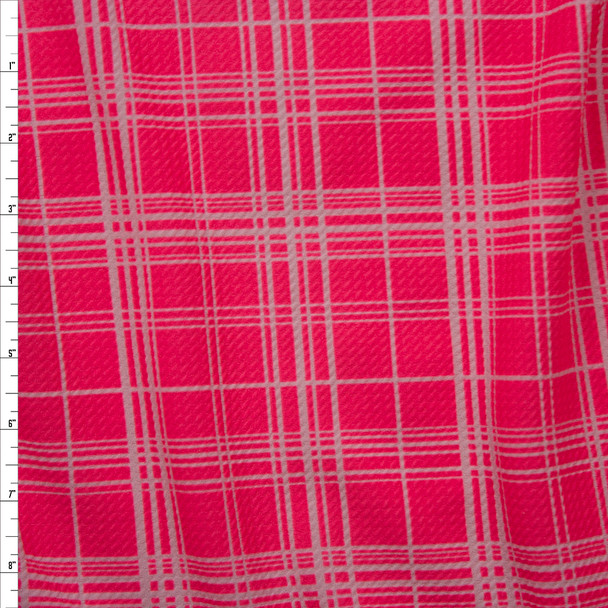 Neon Pink and White Plaid Bullet Liverpool Knit Fabric By The Yard