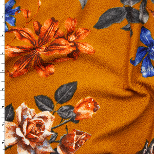 Teal Grey, Rust, and Royal Floral on Dijon Crepe Liverpool Knit Fabric By The Yard