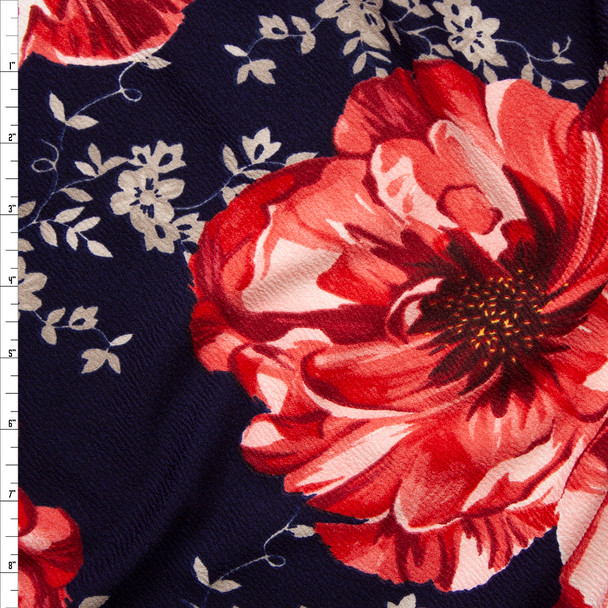Large Pink Flowers with Tan Leaves on Navy Blue Crepe Liverpool Knit Fabric By The Yard