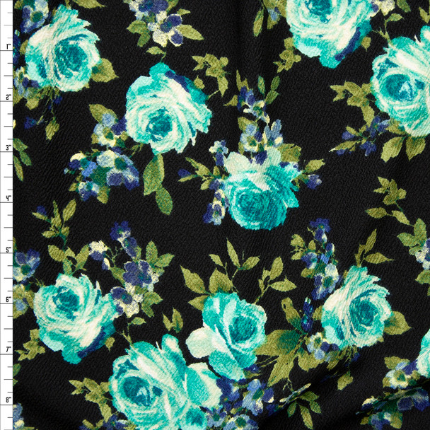 Aqua and Green Rose Floral on Dark Navy Crepe Liverpool Knit Fabric By The Yard