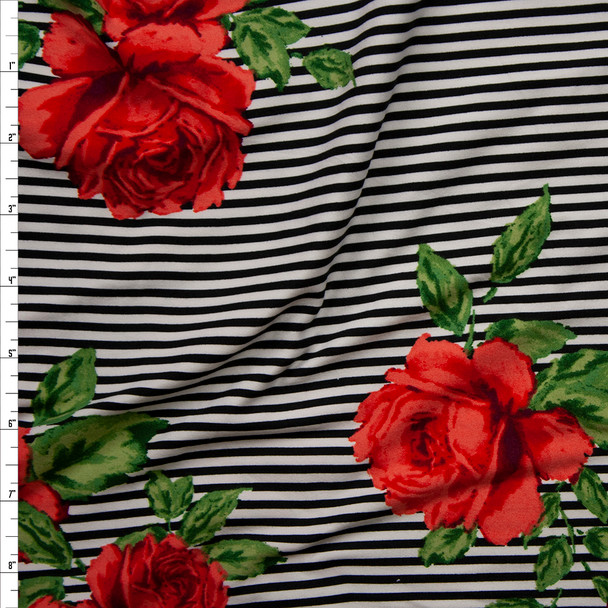 Red Roses on Black and White Stripes Double Brushed Poly Spandex Knit Fabric By The Yard
