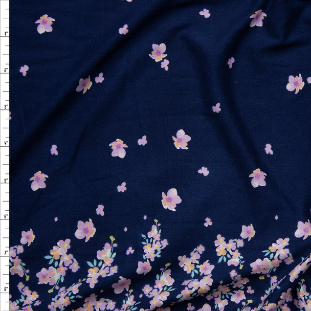 Lilac Flowers on Navy Border Print Double Brushed Poly Spandex Knit Fabric By The Yard