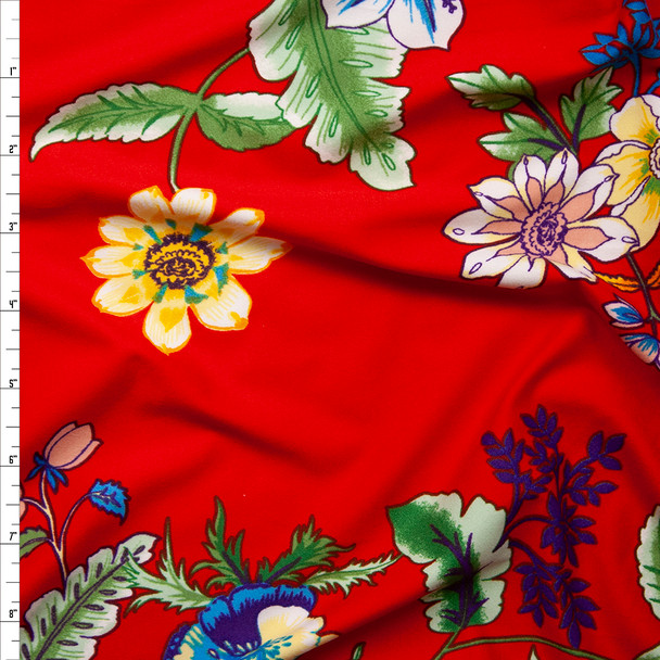 Summer Floral on Bright Red Double Brushed Poly Spandex Knit Fabric By The Yard