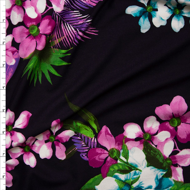 Aqua and Pink Floral on Dark Plum Double Brushed Poly Spandex Knit Fabric By The Yard
