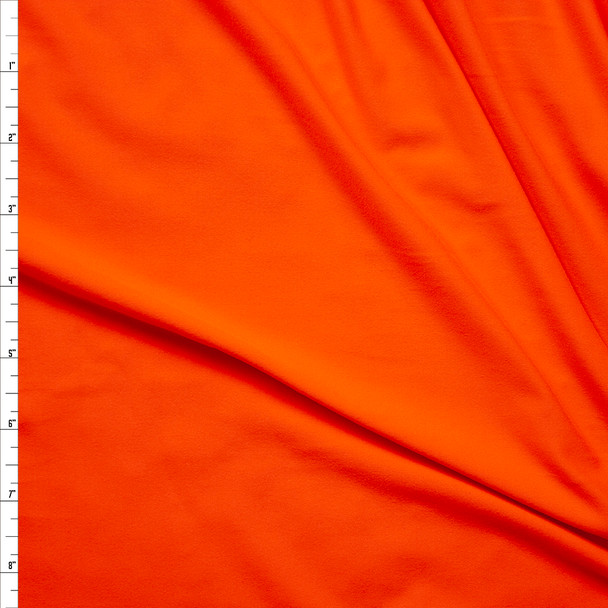 Neon Orange Double Brushed Poly Spandex Knit Fabric By The Yard