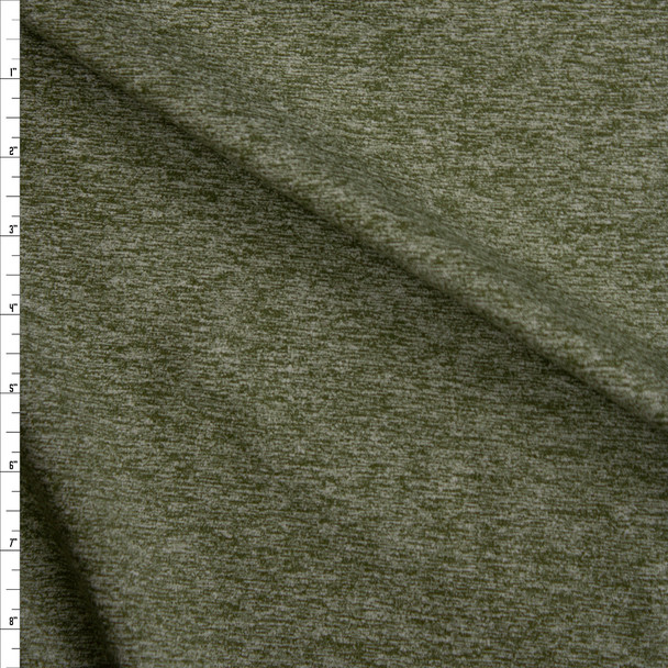Olive Green Heather Heavyweight Brushed Athletic Knit Fabric By The Yard