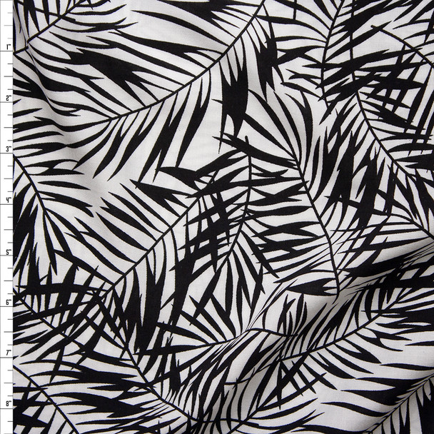 Black Palms on White Rayon Challis Fabric By The Yard