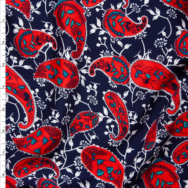 Red and White Paisleys and Branches on Navy Blue Rayon Challis Fabric By The Yard