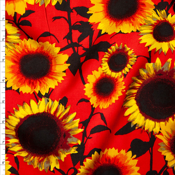 Yellow and Black Sunflower Floral on Red Rayon Challis Fabric By The Yard
