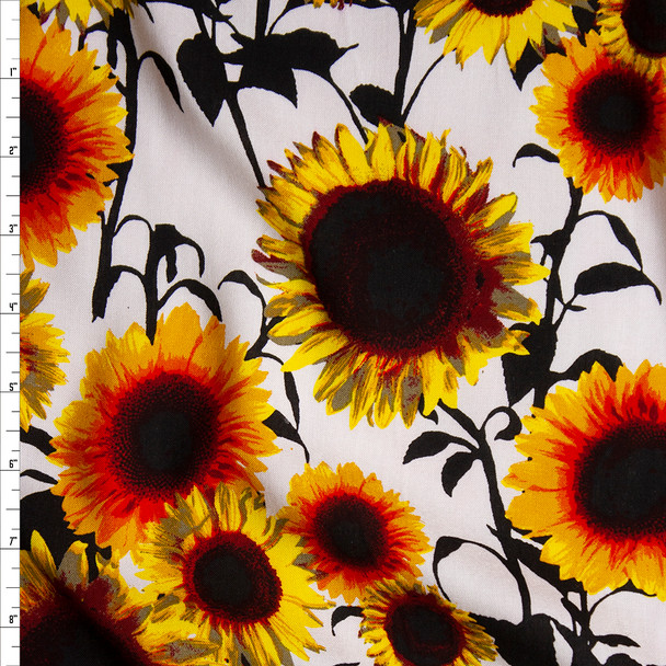 Yellow and Black Sunflower Floral on White Rayon Challis Fabric By The Yard