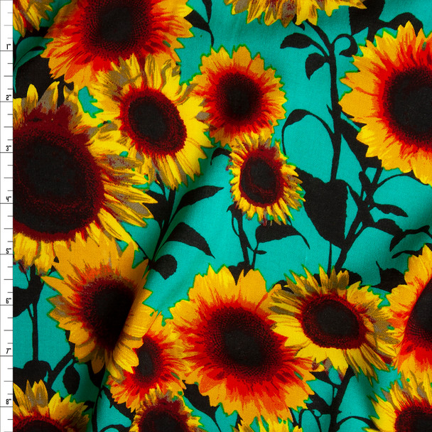 Yellow and Black Sunflower Floral on Bright Seafoam Rayon Challis Fabric By The Yard