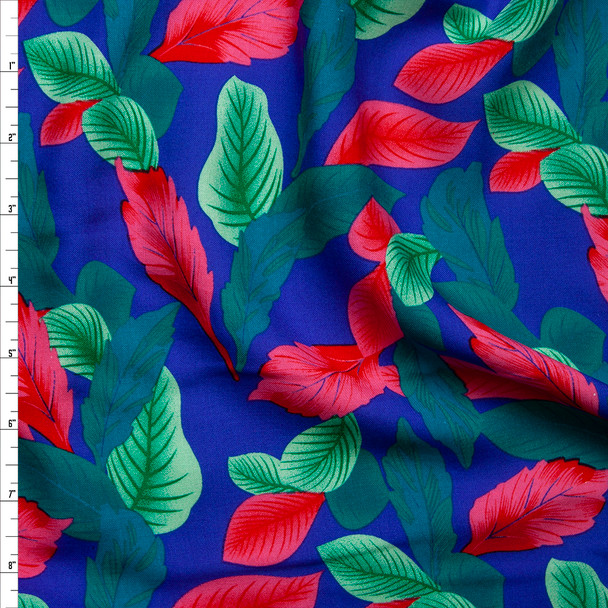 Hot Pink, Seafoam, and Mint Leaves on Royal Blue Rayon Challis Fabric By The Yard