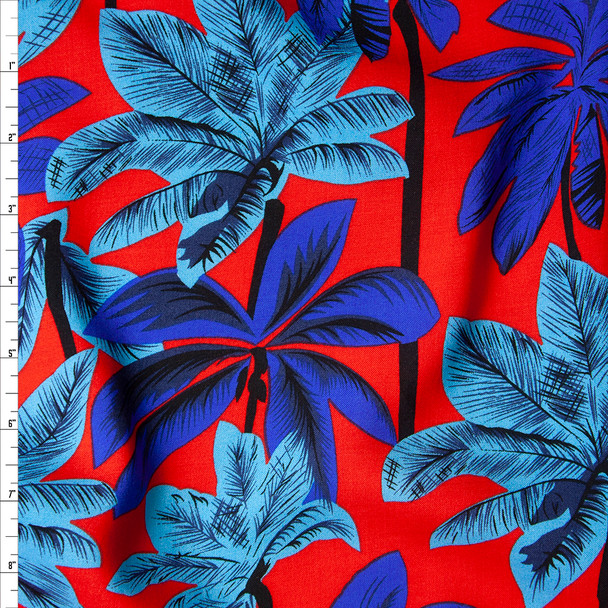 Royal Blue, Turquoise, and Black Palm Trees on Red Rayon Challis Fabric By The Yard