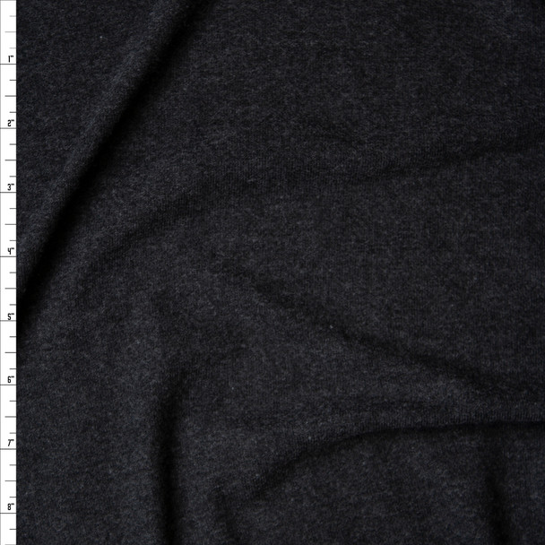 Charcoal Heather Grey Brushed Stretch Sweater Knit Fabric By The Yard