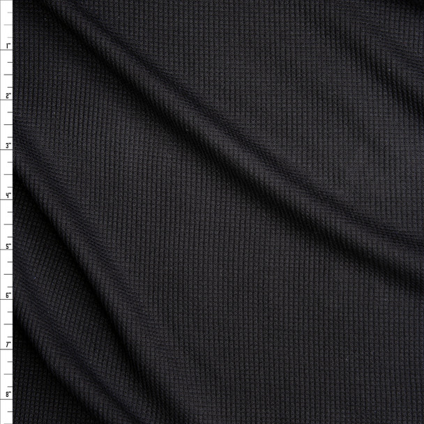 Black Stretch Micro Waffle Knit Fabric By The Yard