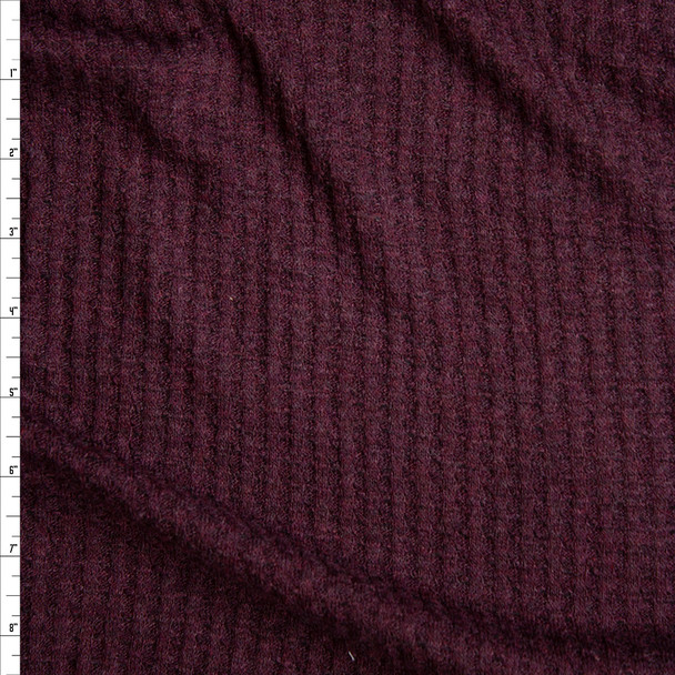 Dark Plum Soft Waffle Knit Fabric By The Yard
