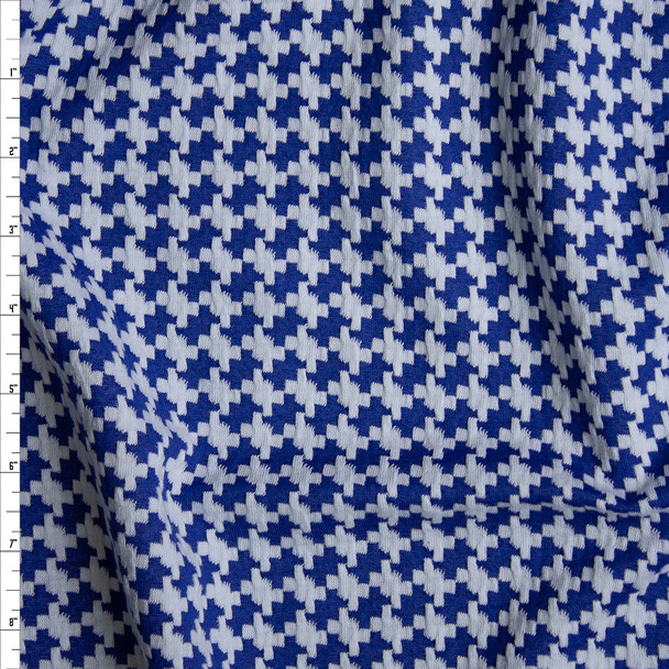 Royal Blue and White Houndstooth Textured Double Knit Fabric By The Yard