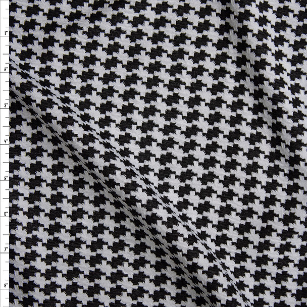 Black and White Houndstooth Textured Double Knit Fabric By The Yard