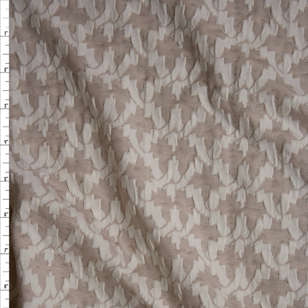 Ivory on Tan Criss Cross Pattern Textured Double Knit Fabric By The Yard
