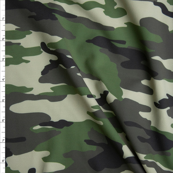 Olive, Sage, and Black Camouflage Stretch Supplex/Spandex Fabric By The Yard