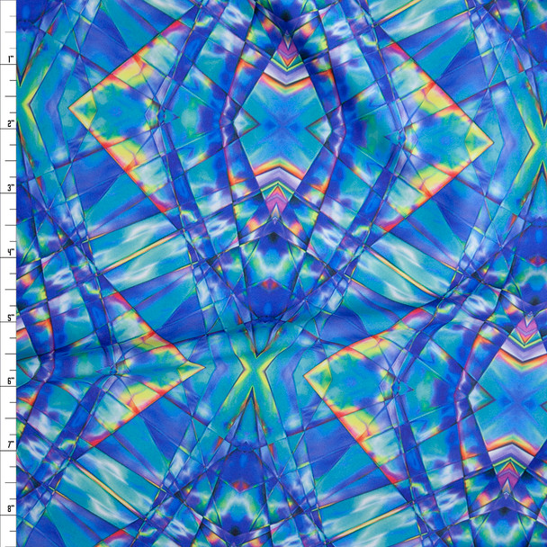 Blue and Yellow Stained Glass Kaleidoscope Nylon/Spandex Fabric By The Yard