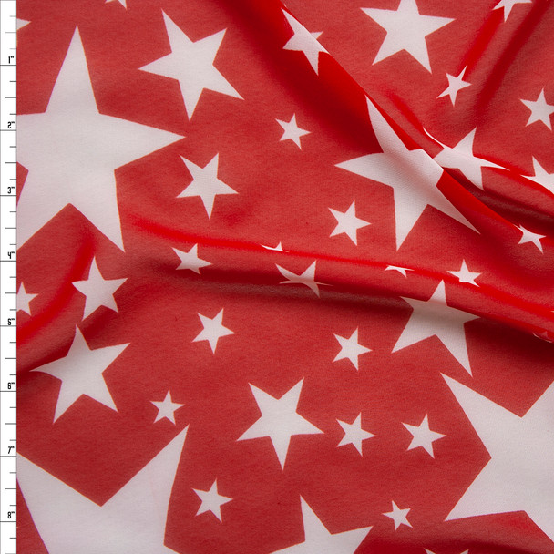 White Stars on Red Chiffon Print Fabric By The Yard