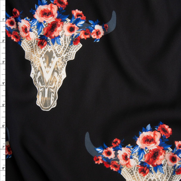 Ivory Lacey Cow Skulls with Hot Pink and Blue Rose Crowns on Black Georgette Fabric By The Yard