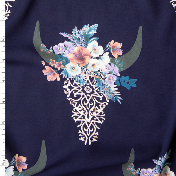 Ivory Lacey Cow Skulls with Blue and Pink Rose Crowns on Navy Blue Georgette Fabric By The Yard