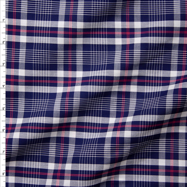 Blue, White, and Red Plaid Fine Cotton Shirting Fabric By The Yard