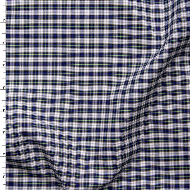 Navy, White, and Yellow Plaid Fine Cotton Shirting Fabric By The Yard