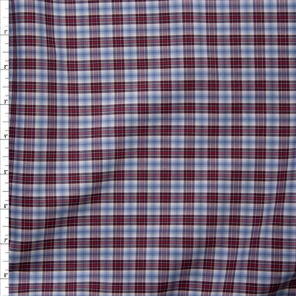 Light Blue, Burgundy, Red, and White Plaid Fine Cotton Shirting Fabric By The Yard