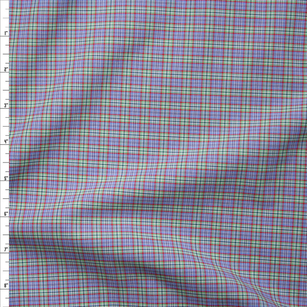 Light Blue, Lime, and Red Plaid Fine Cotton Shirting Fabric By The Yard