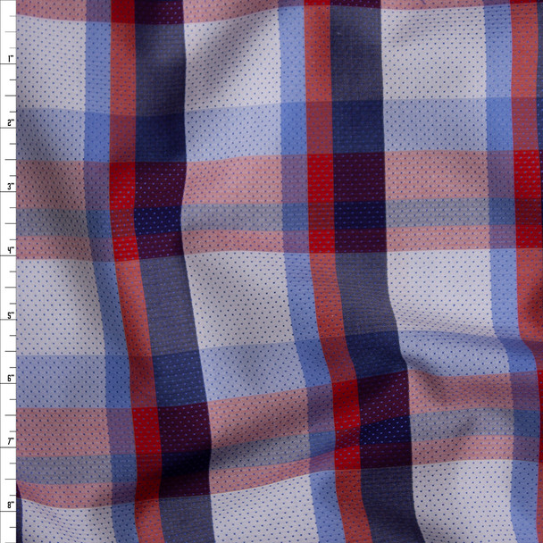 Red, White, and Blue Plaid Fine Cotton Shirting with Embroidered Navy Dots Fabric By The Yard