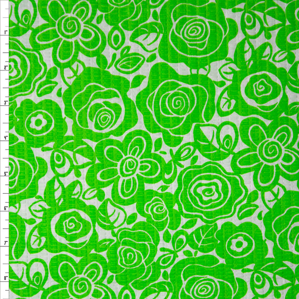 Lime and White Floral 'Tutti Frutti' Plissé Fabric By The Yard