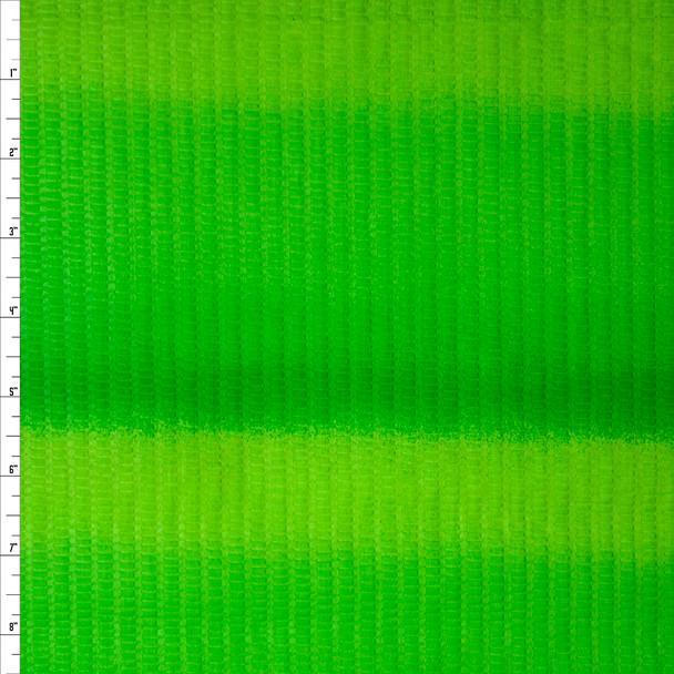 Lime Green Gradient Stripes 'Tutti Frutti' Plissé Fabric By The Yard
