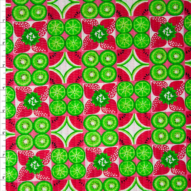 Kiwis and Watermelon Slices 'Tutti Frutti' Plissé Fabric By The Yard