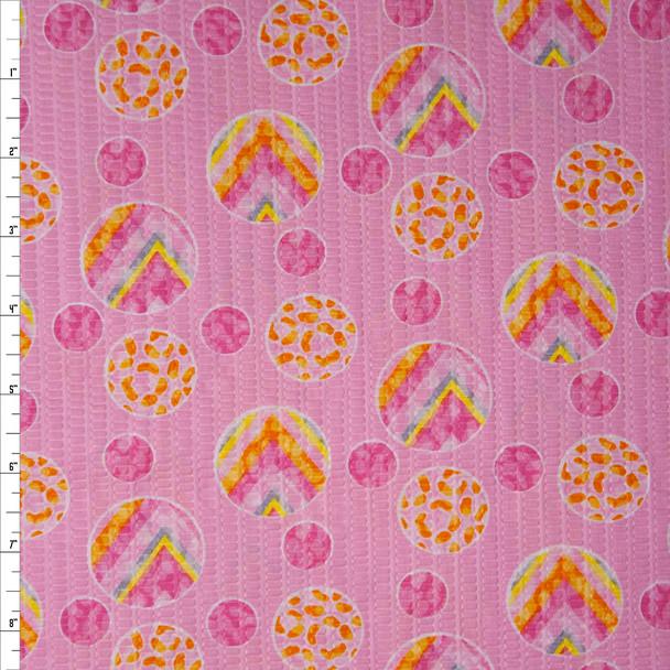 Rainbow Dots on Pink 'Tutti Frutti' Plissé Fabric By The Yard