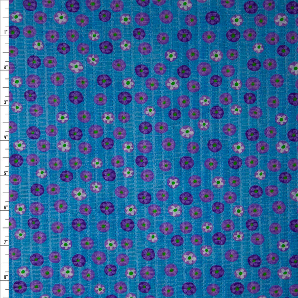 Purple and White Flower Dots on Turquoise 'Tutti Frutti' Plissé Fabric By The Yard