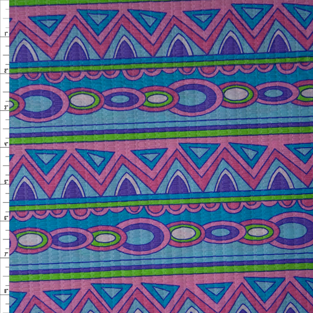 Pink Purple, Lime, Blue, and Aqua Fun Geometric Stripes 'Tutti Frutti' Plissé Fabric By The Yard