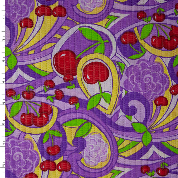 Red Cherries and Purple and Yellow Swirls 'Tutti Frutti' Plissé Fabric By The Yard