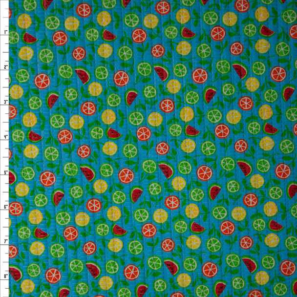 Tiny Watermelon Slices and Citrus on Bright Teal 'Tutti Frutti' Plissé Fabric By The Yard