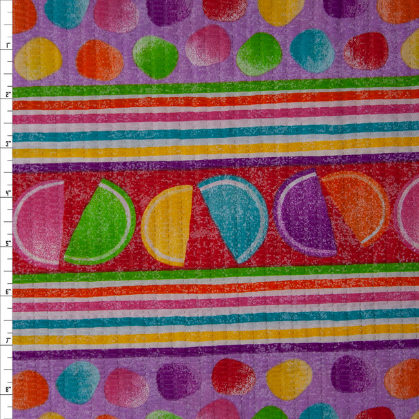 Sugar Slices and Gum Drop Stripe 'Tutti Frutti' Plissé Fabric By The Yard