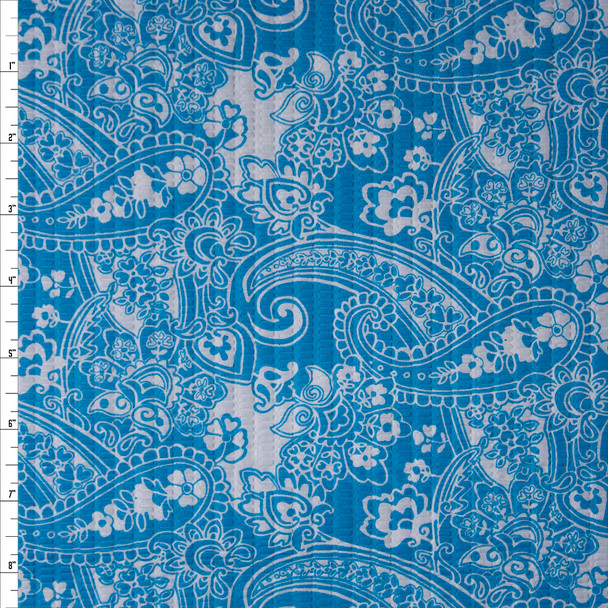 Turquoise and White Paisley 'Tutti Frutti' Plissé Fabric By The Yard