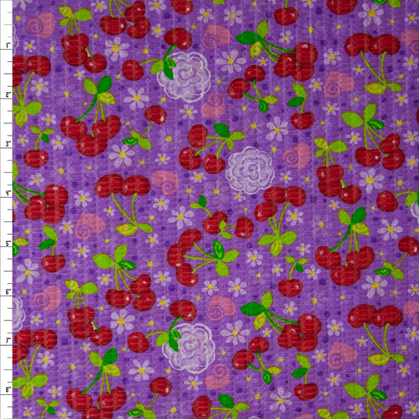 Cherries, Hearts, and Flowers on Purple 'Tutti Frutti' Plissé Fabric By The Yard