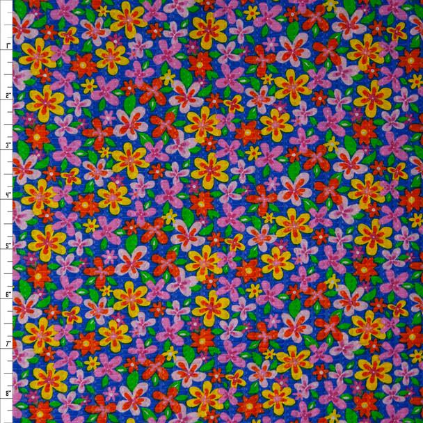 Fun Pink, Yellow, and Orange Flowers on Blue 'Tutti Frutti' Plissé Fabric By The Yard