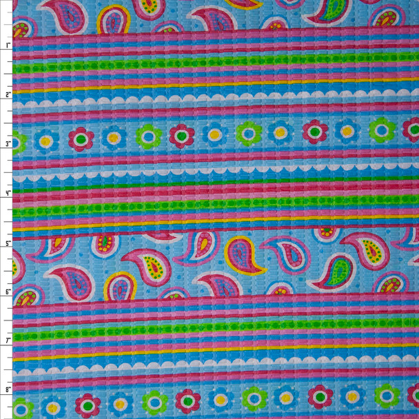 Aqua, Lime, Pink, and Orange Floral and Paisley Stripes 'Tutti Frutti' Plissé Fabric By The Yard