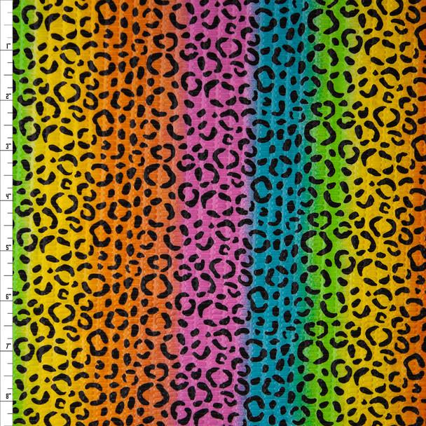 Cheetah Print on Bright Vertical Rainbow Stripe 'Tutti Frutti' Plissé Fabric By The Yard