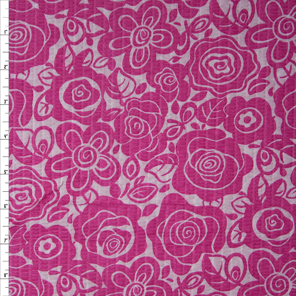 Pink Floral on White 'Tutti Frutti' Plissé Fabric By The Yard