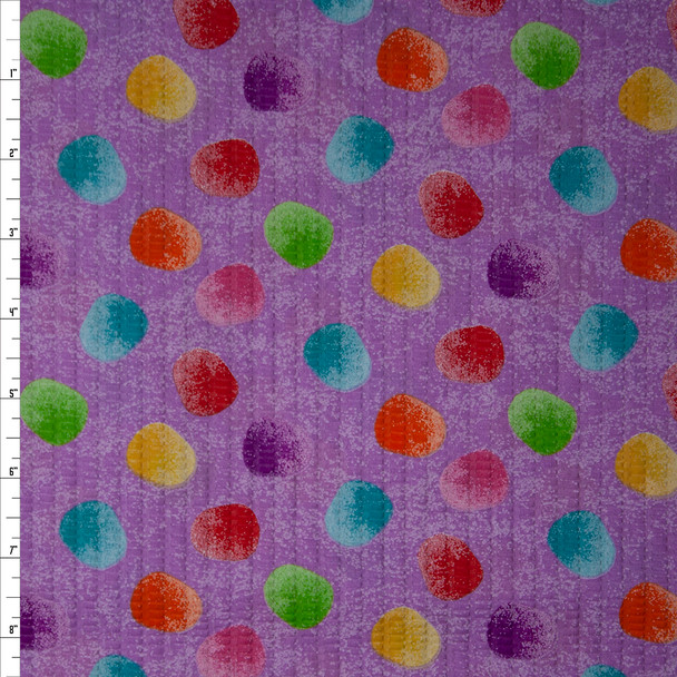 Multi Colored Gum Drops on Lilac 'Tutti Frutti' Plissé Fabric By The Yard